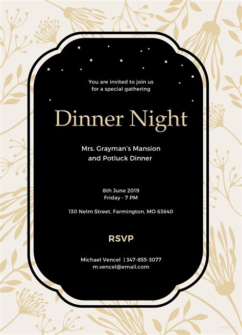 dinner invitation card template free free dinner invitation template in ms word publisher