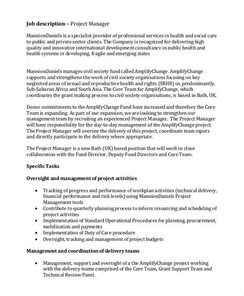 project manager description sle manager description 9 exles in pdf word