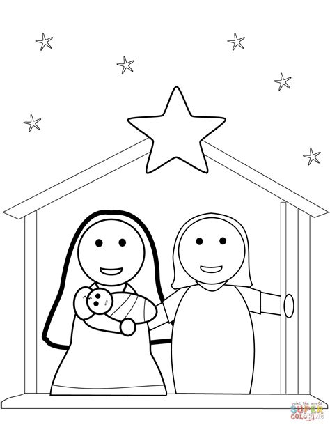 christmas nativity scene coloring page free printable