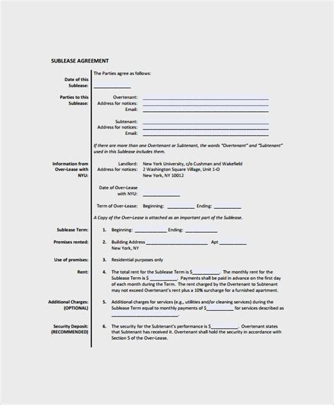 commercial sublease agreement template 9 commercial sublease agreements sle templates