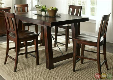 Tahoe Mahogany Finish Counter Height Dining Table Set Counter Height Dining Table Sets