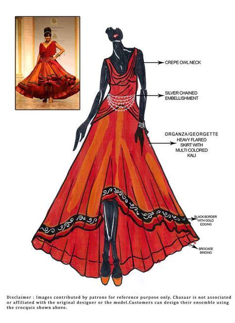 fashion illustration lehenga diy smoldering orange lehenga choli indian wear