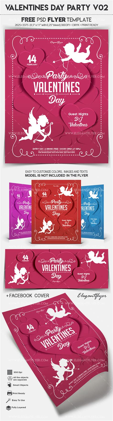 Valentines Day Party V02 Free Flyer Psd Template By Elegantflyer Day Flyer Template Free