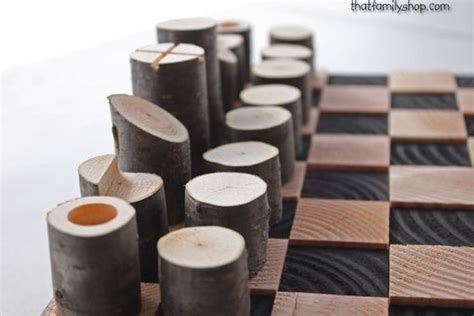 buy custom  modern minimalist rustic chess set wood log branch pieces   order