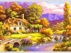 Beautiful House paintings Q Alphabet Wallpaper