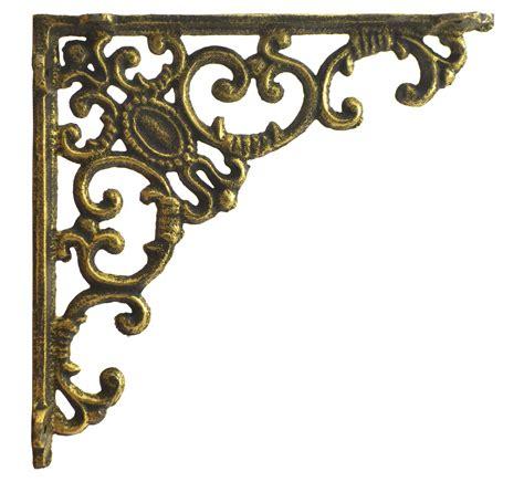 shelf bracket ornate curls decorative gold cast iron wall