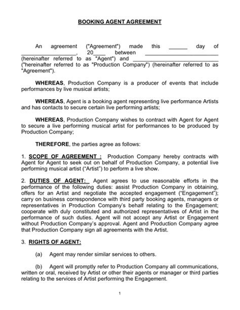 talent agent contract template free printable documents
