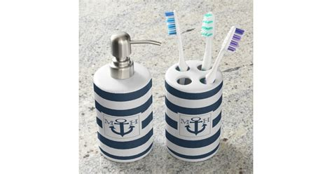 Navy Blue Nautical Stripe And Anchor With Monogram Bath Navy Blue Bathroom Accessories