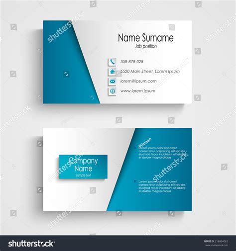 blue card template modern light blue business card template stock vector