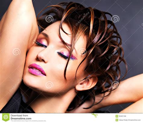 Hairstyle Photos Only Printer by Beautiful Saxy With Bright Pink Makeup Stock Photo