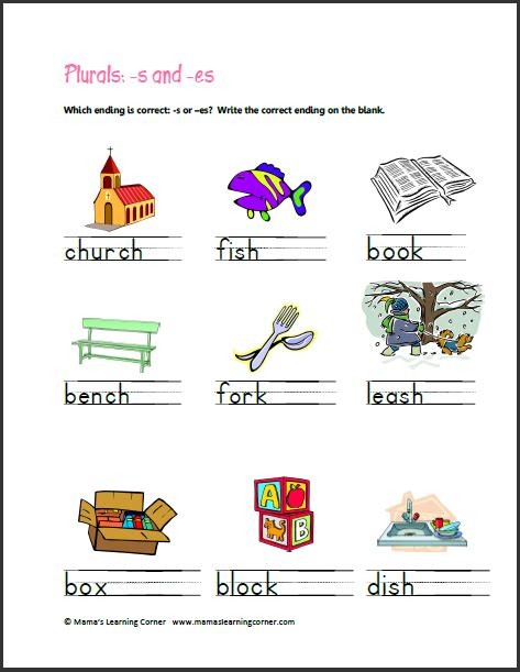 S Or Es Worksheet by Plurals Adding S And Es Mamas Learning Corner