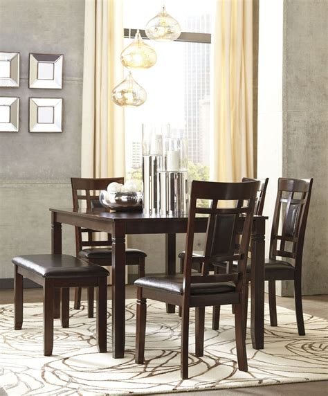 6 piece dining room sets bennox brown 6 piece rectangular dining room set d384 325