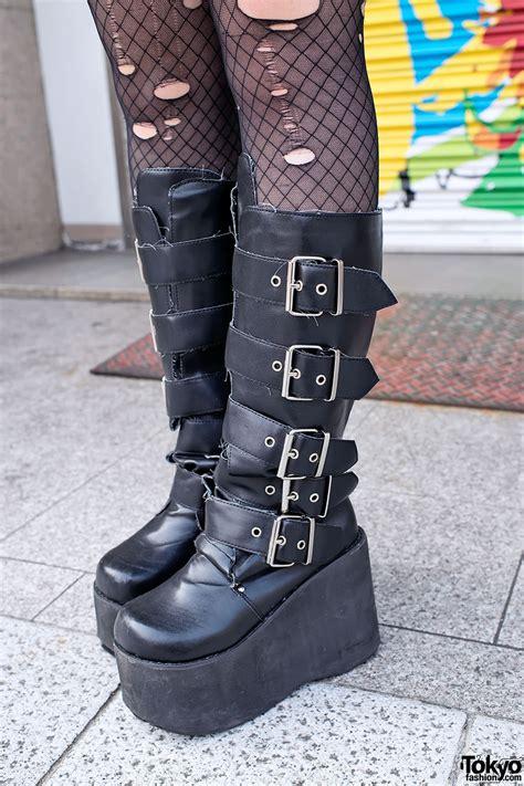 demonia platform boots s pink blue hair bustier demonia boots in harajuku