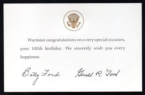 Wedding Congratulations From President by Gerald Ford 100th Birthday Congratulatory Gift Card