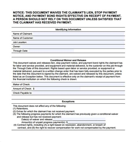 15 Conditional Release Forms To Download For Free Sle Templates Conditional Lien Waiver Template