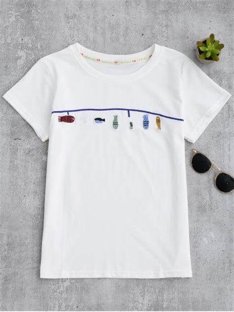 Embroidered T Shirt 2018 fish embroidered t shirt in white one size zaful