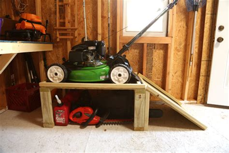 Push Mower Garage Storage Ideas Lawn Mower Storage Caddy Checking In With Chelsea