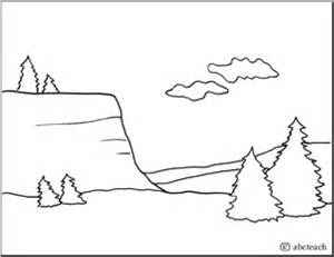 coloring page landforms cliff abcteach