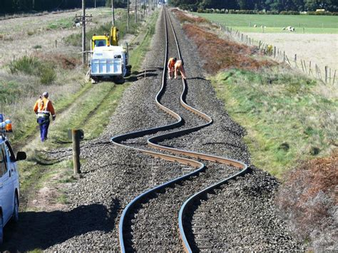 Earthquake Track   distorted railway lines in the christchurch earthquake
