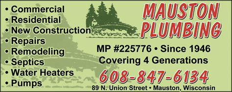 Mauston Plumbing lincoln marketing county wi