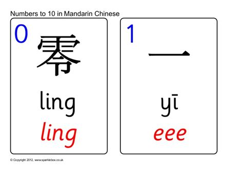 printable chinese number flash cards chinese number cards