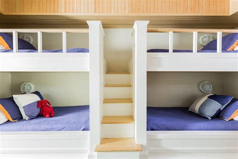 How To Build Bunk Beds Built In Steps Between Bunk Beds Cottage Boy S Room