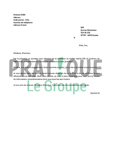 Lettre De Rã Siliation Mobile Modele Lettre Resiliation Mobile Sfr Document