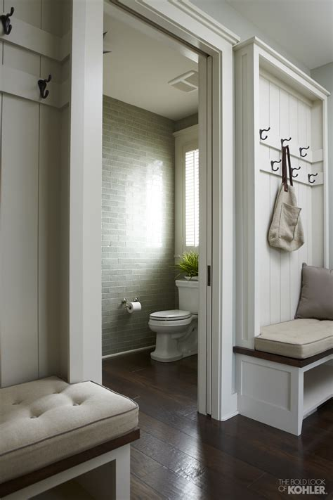mudroom bathroom ideas the bold look of mudroom pocket doors and powder room