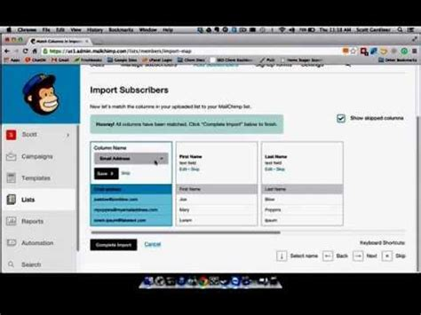 csv format mailchimp mailchimp importing subscribers from a csv file youtube