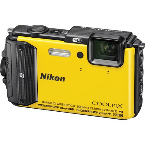 nikon coolpix aw130 waterproof digital yellow 26494 b h