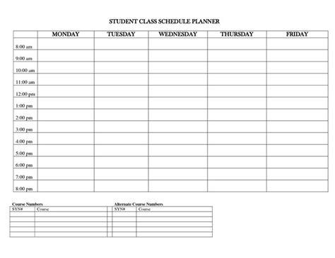 student planner templates student class schedule planner