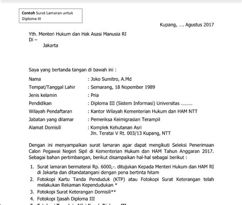 Contoh Surat Lamaran Pendaftaran Cpns Kejaksaan Agung by Contoh Surat Pendaftaran Cpns Kemenkumham Info