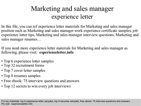 marketing and sales manager experience letter