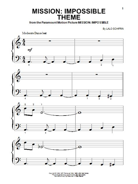 theme music of mission impossible mission impossible theme sheet music direct
