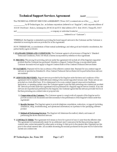 technical support agreement template technical support service agreement free
