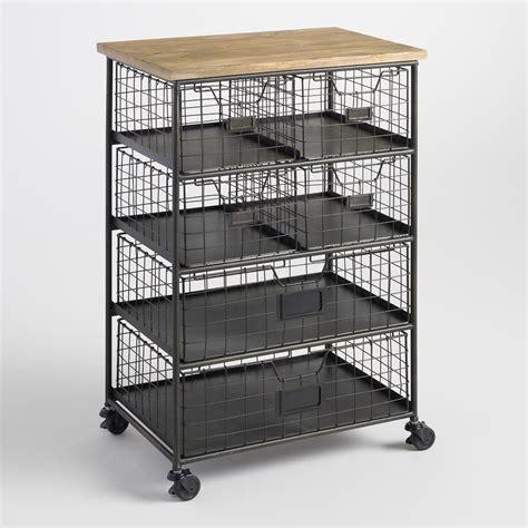 metal and wood 6 drawer garrett rolling cart world market