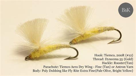 yellow mayfly pattern tying yellow mayfly emerger aero dry wing parachute