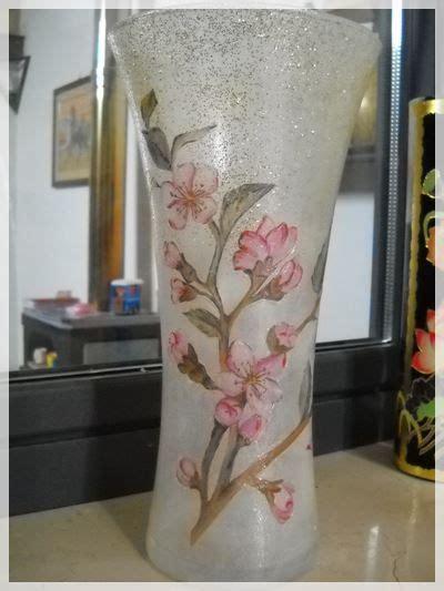 Tutorial Decoupage Su Vaso Di Vetro | d 233 coupage su vaso di vetro di un ramo di ciliegio ottimo