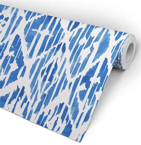 Jp Wallpaper Sticker Blue blue ikat indigo watercolor wallpaper moonwallstickers