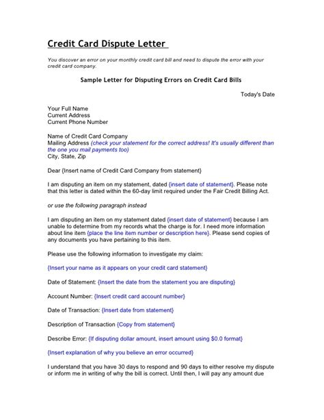 Letter Template To Credit Card Company Credit And Debt Dispute Letters