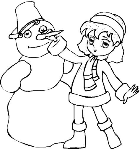 girl snowman coloring page snowman coloring book page girl building a snowman