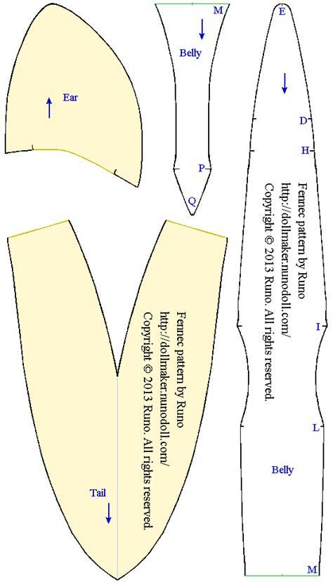 pattern for felt dog ears fox tail template