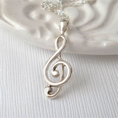 sterling silver treble clef necklace by