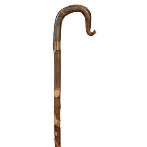 Handmade Walking Sticks - handmade buffalo horn on twisty ash crook walking stick