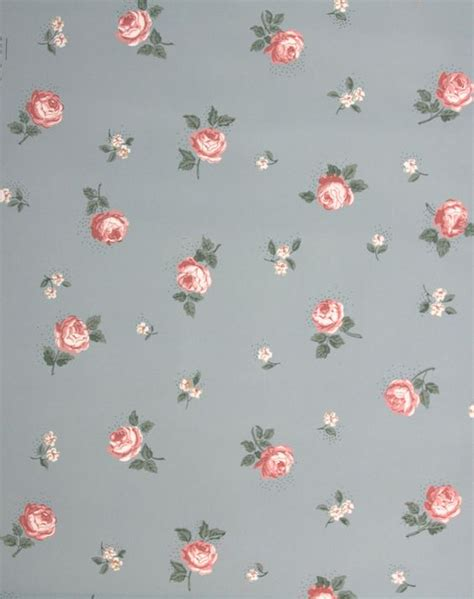 flower pattern wall 1940 s vintage wallpaper small pink roses on blue pink