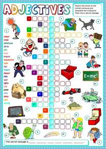 adjectives crosswords interactive worksheet