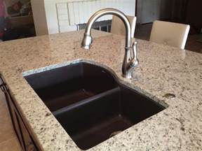 Black Glass Backsplash Granite Composite Sinks Kitchen Traditional With Feature