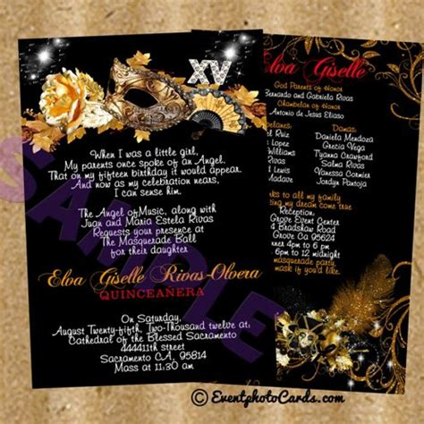 masquerade themed quinceanera invitations gold mask black shimmer sweet 15 birthday invitations