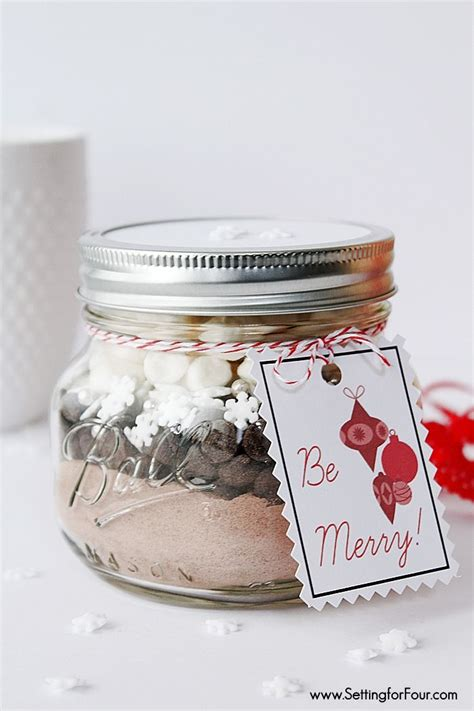 diy mason jar gift snowflake hot chocolate mason jar