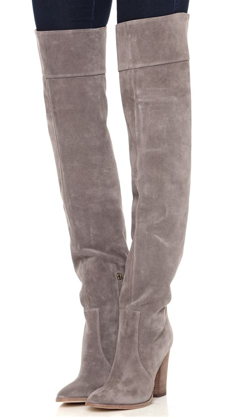 light grey over the knee boots club monaco lisa over the knee suede boots grey in gray